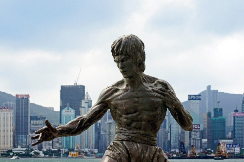 Hong Kong statue of Bruce Lee the Greatest Martial Artist of All Time.
