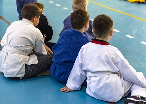 Children sit at attention using self-control gained as one academic benefits of martial arts for kids.