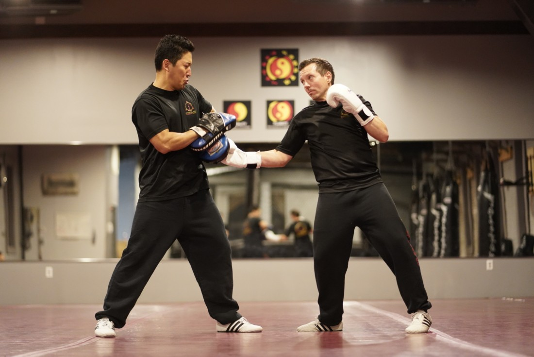 Practicing Jeet Kune Do footwork at NY Martial Arts Academy